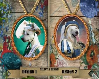 White German Shepherd Jewelry/Shepherd Pendant or Brooch/Shepherd Portrait/Dog Porcelain Jewelry/Custom Dog Jewelry by Nobility Dogs