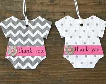 Set of 12 Gray Chevron And Polka Dot Bodysuit Tags With Thank You Belly Band And Glittery Silver Flower -  Baby Shower - Favor Gift Tags