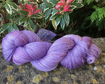 "95 gms hand painted merino /silk lace weight yarn."" Lilacs """