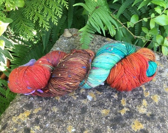 """100grms hand painted fingering weight yarn Merino /Donegal nep """"autumn floor  """""""