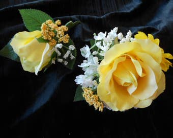 YELLOW ROSE CORSAGE and Boutonniere. Prom Mother of the Bride. Wrist Corsage. Groom Boutonniere Fatherof the Bride Silk Wedding Flowers
