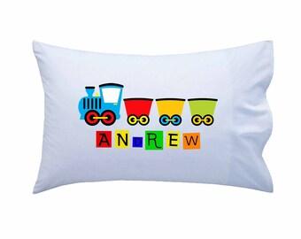Personalized Kids Pillowcase, Train Pillowcase, Standard Personalized Pillowcase, Personalized Gift, Boys Gift, Girls Gift, Birthday Present