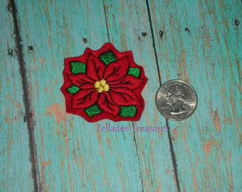 Flower Poinsettia Feltie -Small Red felt - Great for Hair Bows, Reels and Crafts - Christmas Winter Plant