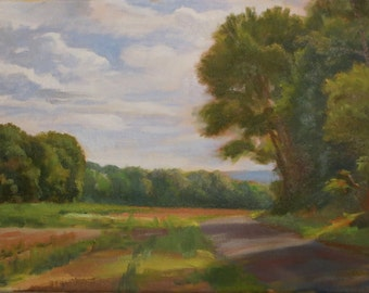 Summer Landscape With Path, Path Through Cornfield, Landscape Oil Painting, July Landscape, Sunny Summer Day With Trees