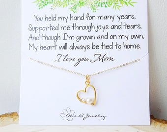 Mother & Child pea in a pod necklace, heart, love, mother of the bride gift idea, mothers day gift, pearl necklace, wedding jewelry for mom