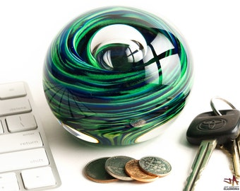 Hand Blown Glass Paperweight - Blue and Sparkly Green Swirls with Bubble - Large