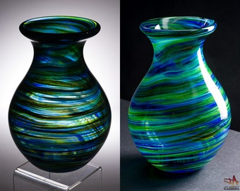 Hand Blown Glass Vase - Bulbous Shape with Blue and Metallic Green Swirls