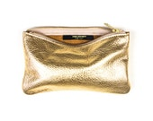 MAE Gold Leather Pouch. Gold Leather Clutch. Gold Leather Wallet. Small Leather Pouch. Gold Wedding Clutch