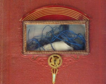 Book assemblage with seashell, Captain's Log, Summer Memory,Susan Sanford wall hanging