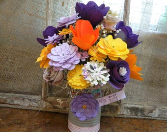 Spring Meadow Bouquet -Violet, Hibiscus orange, Marigold yellow Paper Flower Bouquet - FREE Paper Flower Magnet