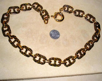 Vintage Leopard Pattern Celluloid Choker Necklace 1950's Jewelry 11052