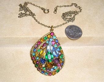 Signed Vintage Czechoslovakia Rhinestone Pendant Necklace Solid Brass 1930's Signed Jewelry 10083