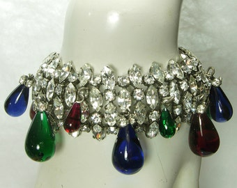 1970s French Bracelet Brilliant Diamante Stones Poured Glass Drops Green Blue Red