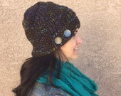 Beanie in Dark Brown with Variegated Purple Blue and Green Knit Hat