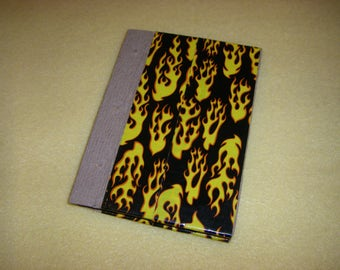 Flames Duct Tape Journal - recycled paper upcycled unlined sketchbook, diary, pocket journal