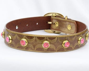 "Gold Leather Dog Collar, Leather Gold Dog Collar, Designer Dog Collar, One of a Kind Dog Collar, Made in USA, Size Large 19"" - 21"" inches"
