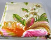 Bright Pink Orange Orchids, Vintage Fabric, Large Stylized Motif, Hawaiian, Dress Decorator Floral