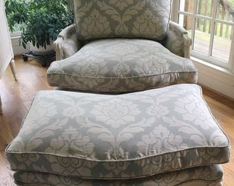 Comfortable Oversized Bergere Chair and Ottoman - Totally Refurbished - Shipping Varies