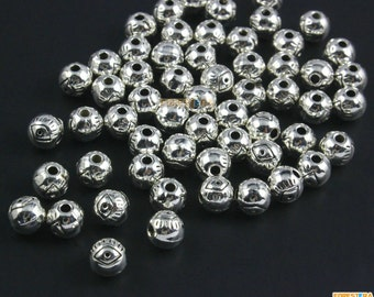100Pcs Antique Silver Round Bead Round Bead Spacer Eyes Bead For Jewerly 6mm (PND1475)