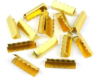 25 Pieces 35*11mm Gold Flat Ribbon Clamp End Crimp [1-3/8 inch]  (J-EC35)