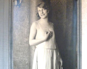 Vintage Sepia Framed Photo of young woman in Dress in Photography Folder