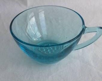 Hazel Atlas Aqua Blue Glass Capri Tea Cup Capri Blue