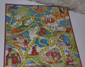 1949 Uncle Wiggely game board colorful graphics Vintage paper supplies altered art mixed media