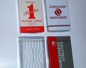 Choice 1 Airline playing cards sealed deck Vintage paper supplies Northwest Pan Am Waddingtons Ephemera red gray