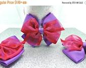 50% Grosgrain Ribbon Bow Organza Ribbon Bows CHRISTMAS BOWS / Purple And Hot Pink Layered Bows