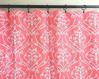 Salmon Pink Barcelona Curtains. Drapery Panels. 25 and 50 width. 63 84 90 96 108 Length. Salmon Red Window Treatments.