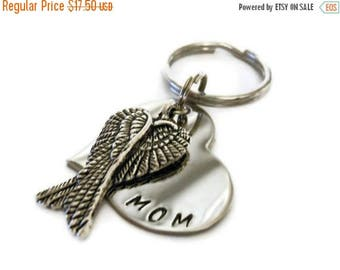 SPRING SALE Personalized Memorial Keychain, Hand Stamped Key chain for Women or Men with angel wings, sympathy gift, memorial keychain