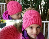 Toddler To Adult Messy Bun Crochet Hat