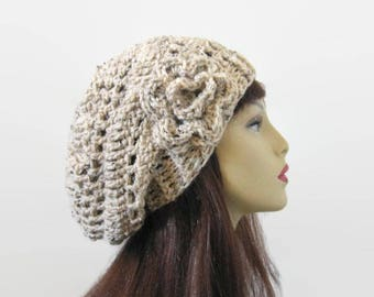 Oatmeal Slouchy Hat Slouch Knit Beanie with Flower Crochet Hat Oatmeal Slouchy Cap  Slouch Beret Beige Hat Slouchy Tam Oatmeal Slouch Cap