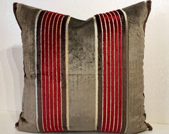 Osborne and Little SALON velvet wide stripe cushion cover in MOCHA. Narrow stripes of Red & Brown with metallic detail by MoGirl DESIGNS