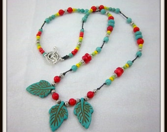 Southwestern Necklace, BoHo Jewelry, Turquoise Magnesite Leaves,  Red Coral,  Yellow Seed Beads, Silver, Knotted Necklace
