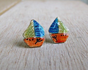 Nautical stud earrings, sea and beach jewerly, orange-blue-yellow boats, solid sterling silver for kids, teens, sailboat studs