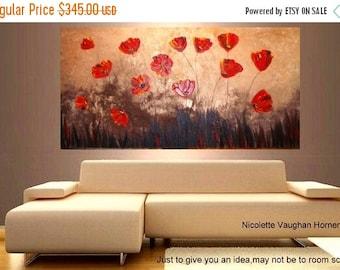 SALE ORIGINAL XLarge deep gallery wrap canvas  modern mixed media impasto floral   fine  art   painting   by Nicolette Vaughan Horner