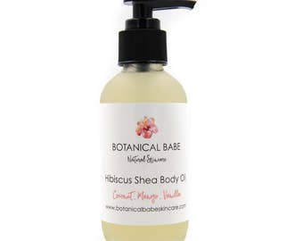 Hibiscus Shea Body Oil - with Tropical Moisturizing Botanical Extracts of Mango, Vanilla, and Coconut