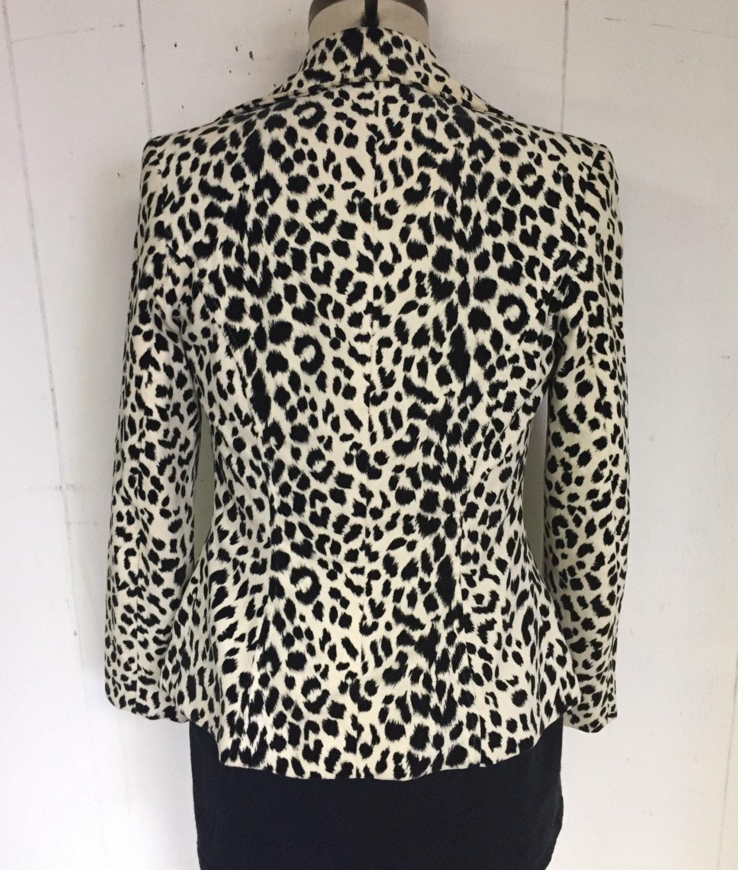 Hugo Buscati Leopard Animal Print Black and White Soft Chic Blazer Jacket
