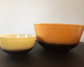Vintage Anchor Hocking Fire King Mixing Bowl Duo Brown and Gold Fade