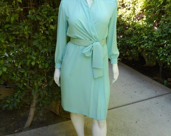 Vintage 1980's Lilli Ann Petites Pastel Blue Dress with Matching Belt - Size 18p