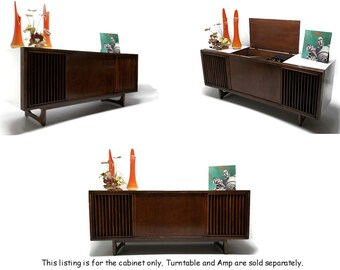 VintedgeCo™ - TURNTABLE READY Series™ - RCA Mid Century Vintage Stereo Console Wood Cabinet