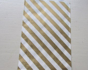 "Set of 20 METALLIC GOLD and White Diagonal Design Middy Bitty Bags (5"" x 7.5"")"