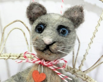 Needle felted gray kitty cat, green wool heart with mouse, ready to mail Pet Pocket by Curly Furr, felt cat, custom grey kitten ornament