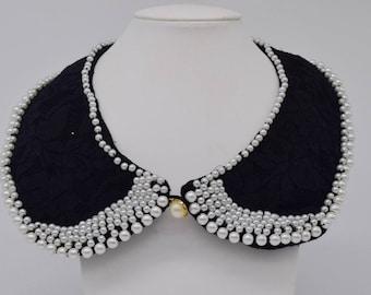 Handmade pearl lace peter pan collar