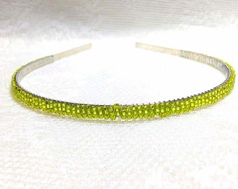 Chartreuse (Light Green) Beaded Headband Tiara - Alice Hair Band - Sparkle Collection (Limited Edition) HB5SSL-13