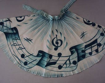 Vtg. Rockabilly Apron ~~ Handpainted Music Notes, Unused