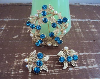 Circa 50s Brooch and Earring Set, Unmarked