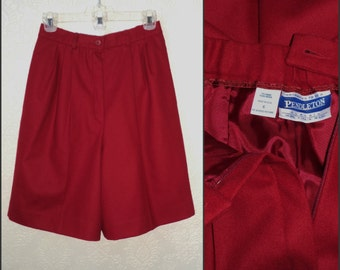 Vintage Bombshell Wool Shorts High Waist PENDLETON Maroon 8 Lined New Condition Fully Lined