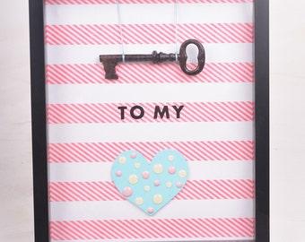 Key to My Heart Shadowbox Pink and Aqua